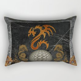 Awesome tribal dragon made of metal Rectangular Pillow