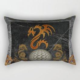 Awesome tribal dragon made of metal Rectangular Pillow