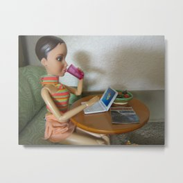 On The Laptop Metal Print
