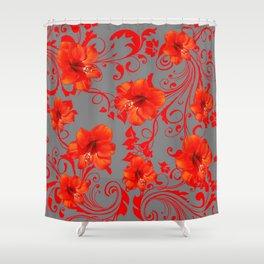 ORANGE-RED AMARYLLIS BROCADE FLORAL GREY ART Shower Curtain