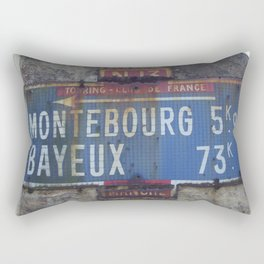 "Vintage Road Sign Touring club de France ""Bayeux - Montebourg"" Normandy Rectangular Pillow"