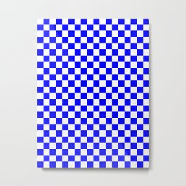 Small Checkered - White and Blue Metal Print