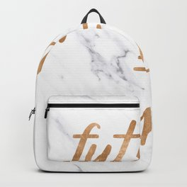 The Future is Female Copper Bronze Gold on Marble Backpack