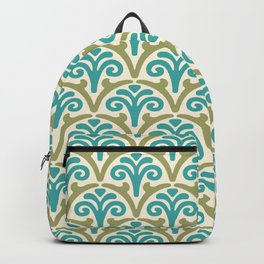 Floral Scallop Pattern Sage and Turquoise Backpack