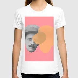 James Joyce - portrait pink and yellow T-shirt