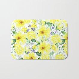 watercolor pattern yellow roses Bath Mat