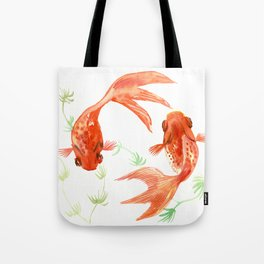 Koi Fish, Feng Shui, Goldfish art, Two fish, Tote Bag