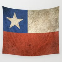 chile Wall Tapestries featuring Old and Worn Distressed Vintage Flag of Chile by Jeff Bartels