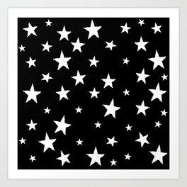 Hand-Drawn Stars (White & Black Pattern) Art Print