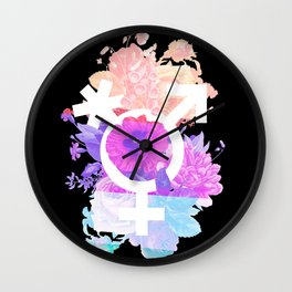 Floral Pronouns Wall Clock