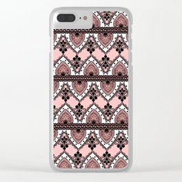 Blush Pink Black and White Ornate Lace Pattern Clear iPhone Case