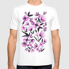Black and Pink Flowers - Watercolor Mens Fitted Tee MEDIUM White