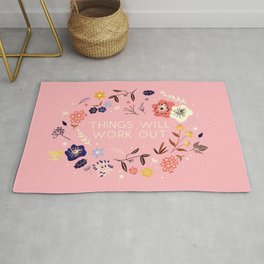 Things will work out - flowers and type Rug
