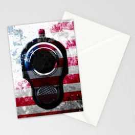 M1911 Colt 45 and American Flag on Distressed Metal Stationery Cards