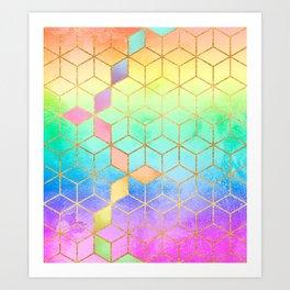 Rainbow Cubes Art Print