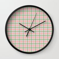 preppy Wall Clocks featuring Preppy Plaid by Laura