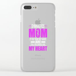 Gymnastics Moms Full Heart Mothers Day T-Shirt Clear iPhone Case