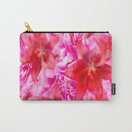 Peony And Lily Flower Bouquet In Vibrant Pink And Red Colors #decor #society6 #homedecor Carry-All Pouch