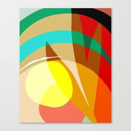 Shapes and Layers no.7 - Modern circles, stripes and leaves Canvas Print