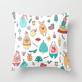 Cute Colorful Cartoon Christmas Animals Pattern Throw Pillow