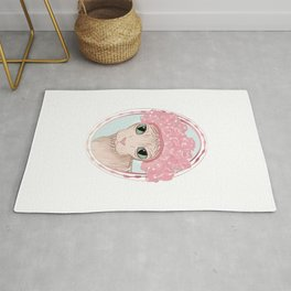 Hairless Sphynx Cat in a Pink Shower Cap  Rug