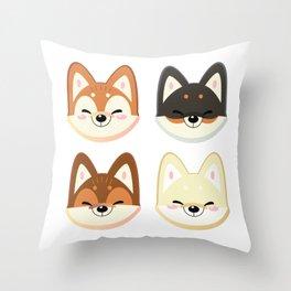 Tiny Shibas Throw Pillow