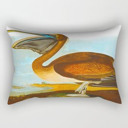 Brown Pelican Illustration Rectangular Pillow