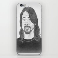 dave grohl iPhone & iPod Skins featuring Dave Grohl , Portrait Art by N_T_STEELART