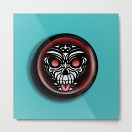 Cute Skull Maori Metal Print