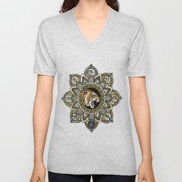 Black and Gold Roaring Tiger Mandala With 8 Cat Eyes Unisex V-Neck