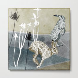 Autumn Hares Metal Print