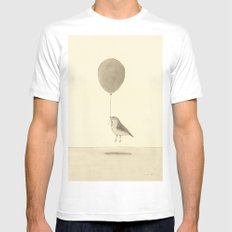 bird with a balloon White Mens Fitted Tee MEDIUM