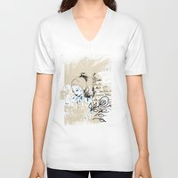 letter V-neck T-shirts featuring Letter by Irmak Akcadogan