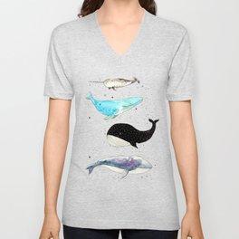 Whales! Unisex V-Neck