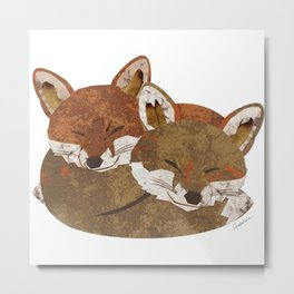 Shelter (Stacked Foxes) Metal Print
