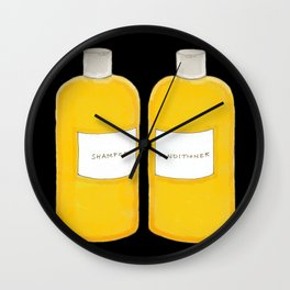 Shampoo & Conditioner (black) Wall Clock