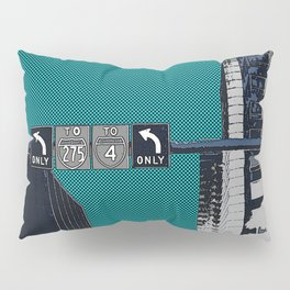Downtown Tampa, Florida print - buildings, traffic sign, & signals - to I-4 or 275 turn left - urban Pillow Sham