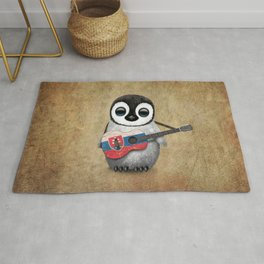 Baby Penguin Playing Slovakian Flag Guitar Rug