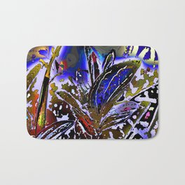 Vivid Foliage in blue Bath Mat