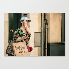 Plastic bags are for losers Canvas Print