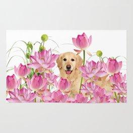 Labrador Retrievers with Lotos Flower Rug