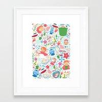 studio ghibli Framed Art Prints featuring Ponyo Pattern - Studio Ghibli by Teacuppiranha