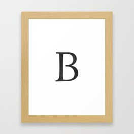 Letter B Initial Monogram Black and White Framed Art Print