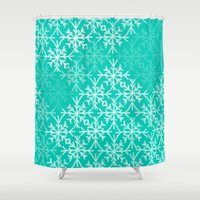 snowflake Shower Curtains featuring SNOWFLAKE by Dash of noir