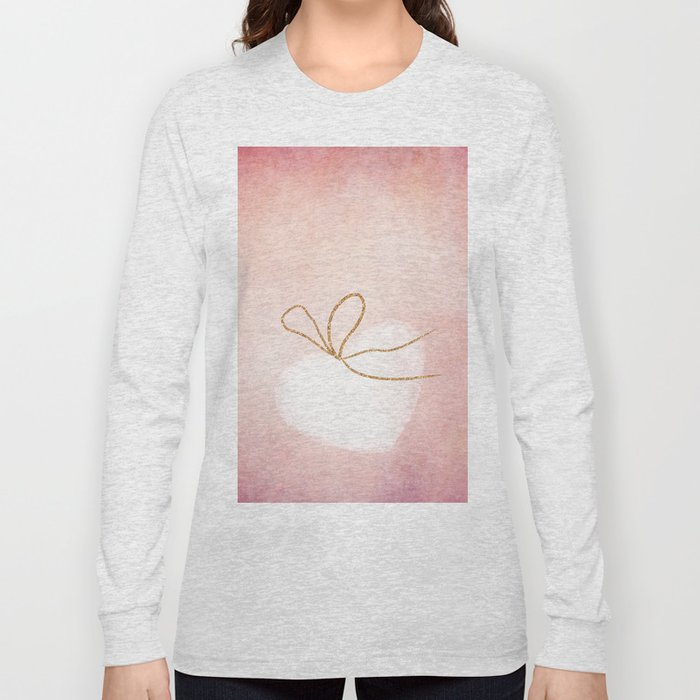 LOVE in pink - Watercolor heart with gold bow on pink backround Long Sleeve T-shirt