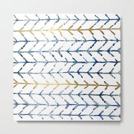 Indigo Gold Herringbone Pattern Metal Print