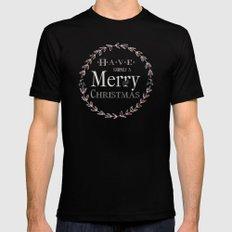 Merry Christmas MEDIUM Black Mens Fitted Tee