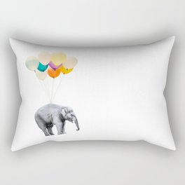 Dreaming Elephant Flying With Colorful Party Balloons Rectangular Pillow