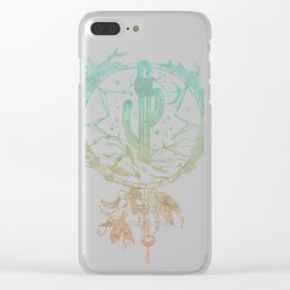 Desert Cactus Dreamcatcher Turquoise Coral Gradient on White Clear iPhone Case