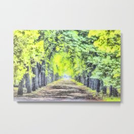 Forest Path Watercolour Metal Print